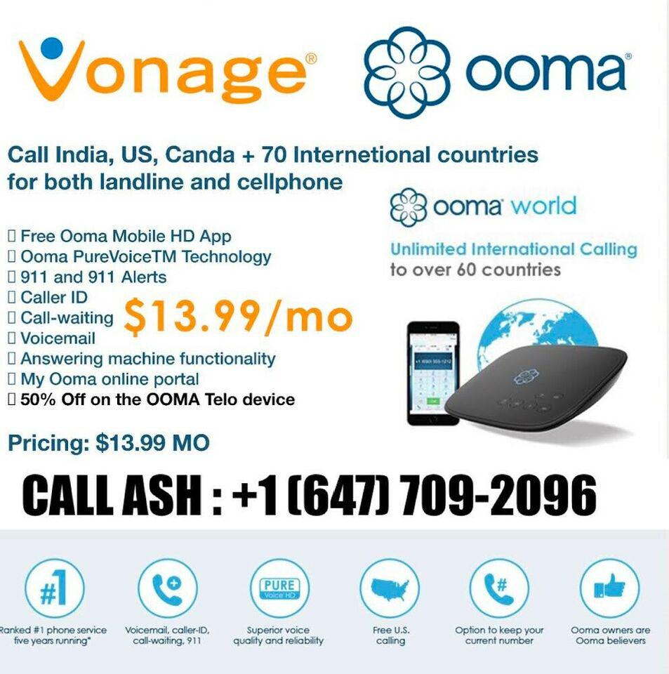 VONAGE | OOMA HOME PHONE UNLIMITED CALLING INDIA US CANADA $9 99
